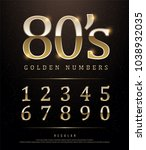 80's retro elegant numbers gold ... | Shutterstock .eps vector #1038932035
