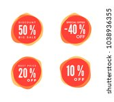 discount sticker set. sale red... | Shutterstock .eps vector #1038936355