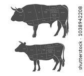 cut of beef. the scheme of... | Shutterstock .eps vector #1038942208