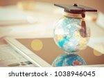 graduated study abroad... | Shutterstock . vector #1038946045