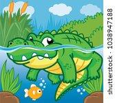 crocodile in the water  cute... | Shutterstock .eps vector #1038947188