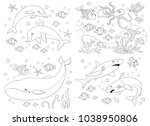 set of cute sea animals. ocean. ... | Shutterstock . vector #1038950806