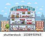 railway station building... | Shutterstock .eps vector #1038950965