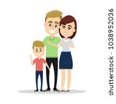 isolated happy family. parents... | Shutterstock .eps vector #1038952036
