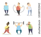 fat people exercising on white... | Shutterstock .eps vector #1038952042