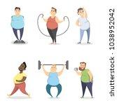 fat people exercising on white... | Shutterstock .eps vector #1038952042