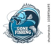 fishing bass logo. bass fish... | Shutterstock .eps vector #1038956695