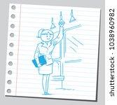 woman teacher traveling by bus | Shutterstock .eps vector #1038960982