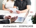 people having meeting about... | Shutterstock . vector #1038961408