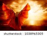 woman dancing wings dress ... | Shutterstock . vector #1038965305
