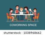 coworking space flat design...   Shutterstock .eps vector #1038968662