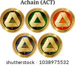 set of physical golden coin...   Shutterstock .eps vector #1038975532