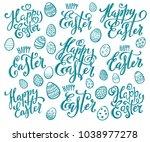 big set of hand written happy... | Shutterstock .eps vector #1038977278