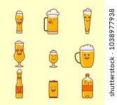 flat linear set of beer emojis | Shutterstock .eps vector #1038977938