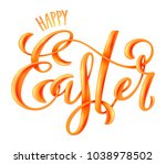 happy easter poster with hand... | Shutterstock .eps vector #1038978502