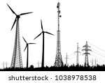 illustration with three wind... | Shutterstock .eps vector #1038978538