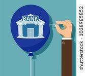 human hand pierces the balloon... | Shutterstock .eps vector #1038985852