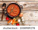 classic italian bolognese sauce ... | Shutterstock . vector #1038989278