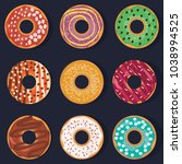 donuts. a set of donuts... | Shutterstock .eps vector #1038994525