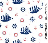 seamless marine pattern with... | Shutterstock .eps vector #1038994978