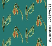 seamless pattern with snowdrops....   Shutterstock .eps vector #1038996718