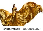 fashion model golden fly dress  ... | Shutterstock . vector #1039001602