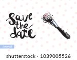 fashionable makeup brush with... | Shutterstock .eps vector #1039005526