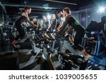 group of sporty people training ... | Shutterstock . vector #1039005655