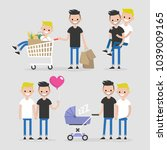 gay couple  lifestyle set.... | Shutterstock .eps vector #1039009165