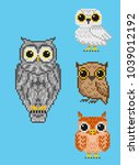 a set of four pixel owls. for...