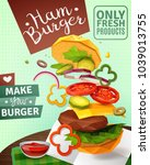 3d hamburger and sauce on brown ...   Shutterstock .eps vector #1039013755