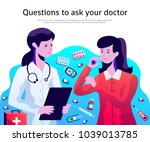 female doctor in physician lab... | Shutterstock .eps vector #1039013785