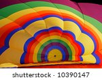 Inside of a colorful hot air balloon during inflation - stock photo