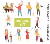 anti aging isolated icons set... | Shutterstock .eps vector #1039014832