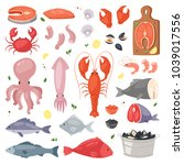 seafood vector sea fish... | Shutterstock .eps vector #1039017556