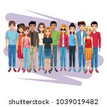 young people cartoon | Shutterstock .eps vector #1039019482