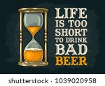 retro hourglass. life is too... | Shutterstock .eps vector #1039020958
