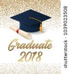 class of 2018 graduation poster ... | Shutterstock .eps vector #1039023508