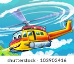 Cartoon helicopter 2 - stock photo