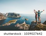 happy couple love and travel... | Shutterstock . vector #1039027642