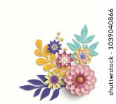 3d bunch of colorful flowers on ... | Shutterstock . vector #1039040866