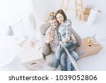 happy couple taking selfies at... | Shutterstock . vector #1039052806