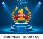 stage podium with lighting ... | Shutterstock .eps vector #1039055122