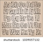 vector art sketched stylized... | Shutterstock .eps vector #1039057132