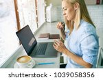business woman checking  email... | Shutterstock . vector #1039058356