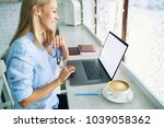 business woman checking  email... | Shutterstock . vector #1039058362