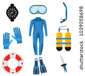 collection of scuba diving.... | Shutterstock .eps vector #1039058698