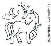 cute unicorn simple cartoon... | Shutterstock .eps vector #1039059448