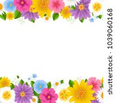 flowers frame white background... | Shutterstock .eps vector #1039060168