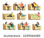 people watching tv  resting... | Shutterstock .eps vector #1039064485